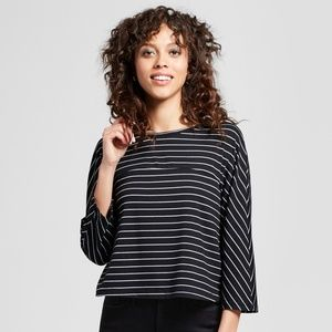 NWT 3/4 Sleeve Striped Knit T-Shirt - Mossimo, XXL